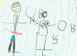 Nadine's drawing for uncle boy at age 3